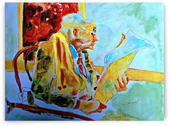 AS - Old Man Reading Newspaper by Clement Tsang