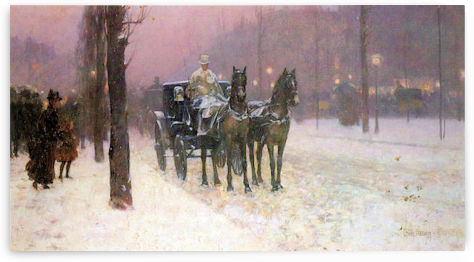 Street scene with two cabs by Hassam by Hassam