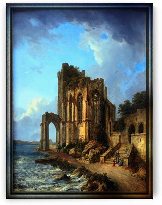 Church Ruins By The Sea by Domenico Quaglio the Younger by xzendor7