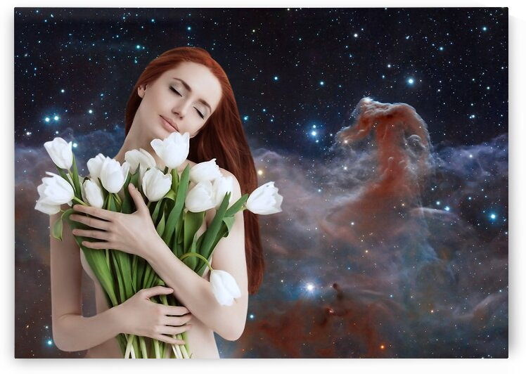 Girl with tulips. Madonna of the 21st century. by Radiy Bohem