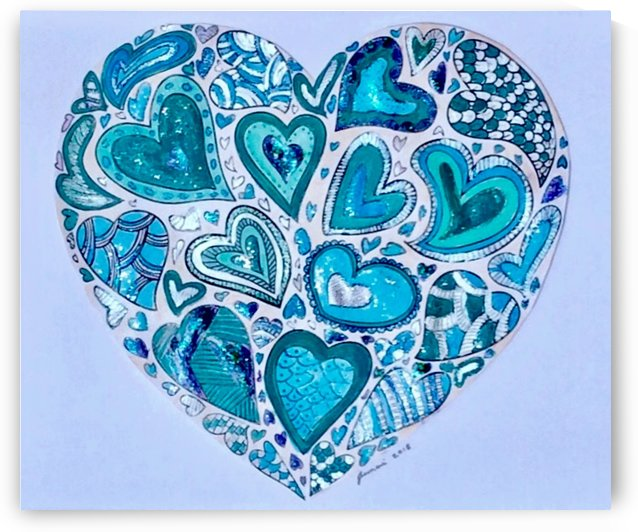 Blue Hearts by Zaramar Paintings