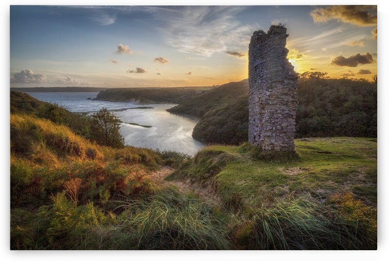 High tide at Three Cliffs Valley by Leighton Collins