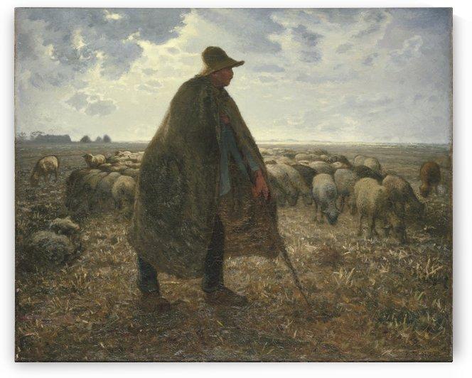 Shepherd Tending His Flock by Jean-Francois Millet
