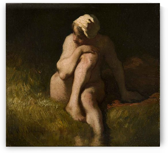 Nude bather by the waterside by Jean-Francois Millet