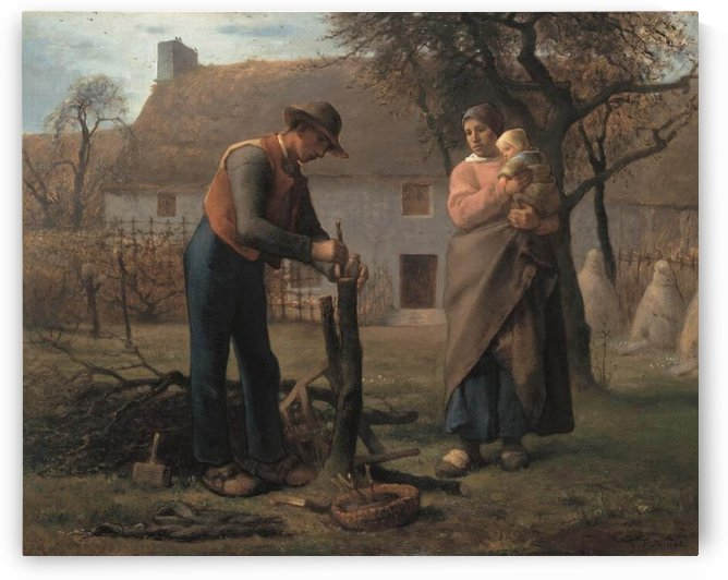 Farmer Inserting a Graft on a Tree by Jean-Francois Millet
