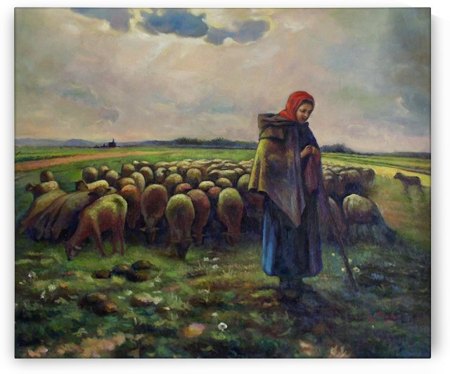 Shepherdess with her flock by Jean-Francois Millet