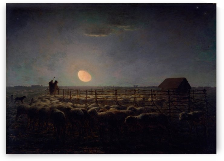 The Sheepfold, Moonlight by Jean-Francois Millet