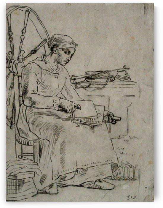 Woman Carding Wool by Jean-Francois Millet