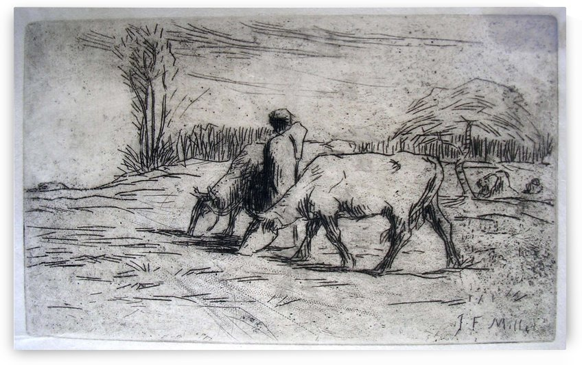 Small flock by Jean-Francois Millet