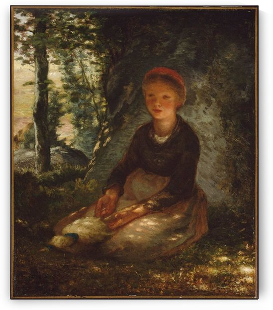Shepherdess seated in the shade by Jean-Francois Millet