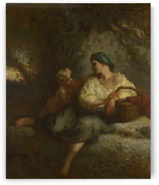 Whispering by Jean-Francois Millet