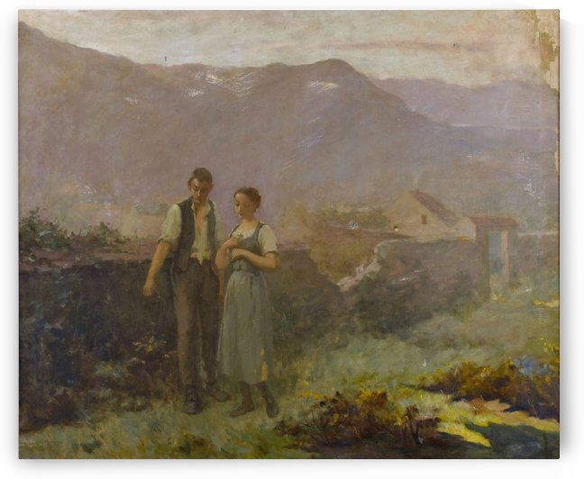 A courting couple by Jean-Francois Millet
