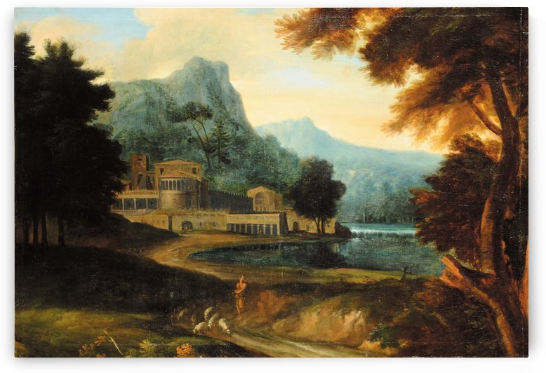 Castle wilh lake near mountains by Jean-Francois Millet