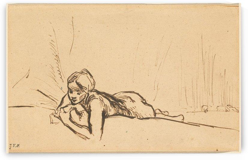 Nude reclining in a landscape by Jean-Francois Millet