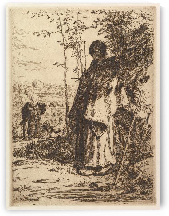 Shepherdess Knitting by Jean-Francois Millet