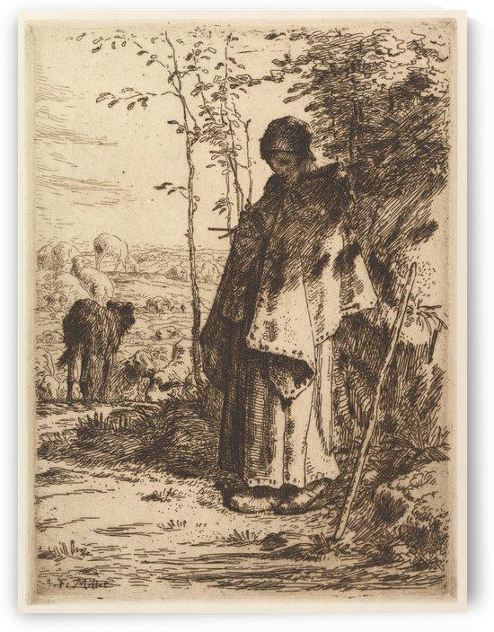 Shepherdess Knitting by Jean-Francois Millet