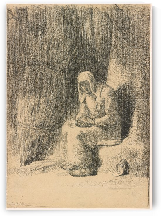 Woman seated beside a tree by Jean-Francois Millet
