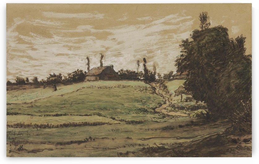 Ferme sur les hauteurs de Vichy by Jean-Francois Millet