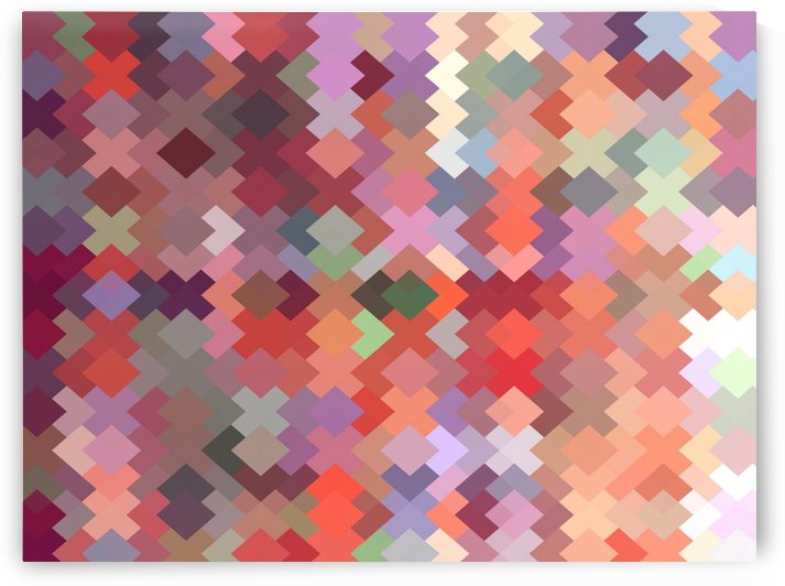 geometric square pixel pattern abstract in red brown green by TimmyLA