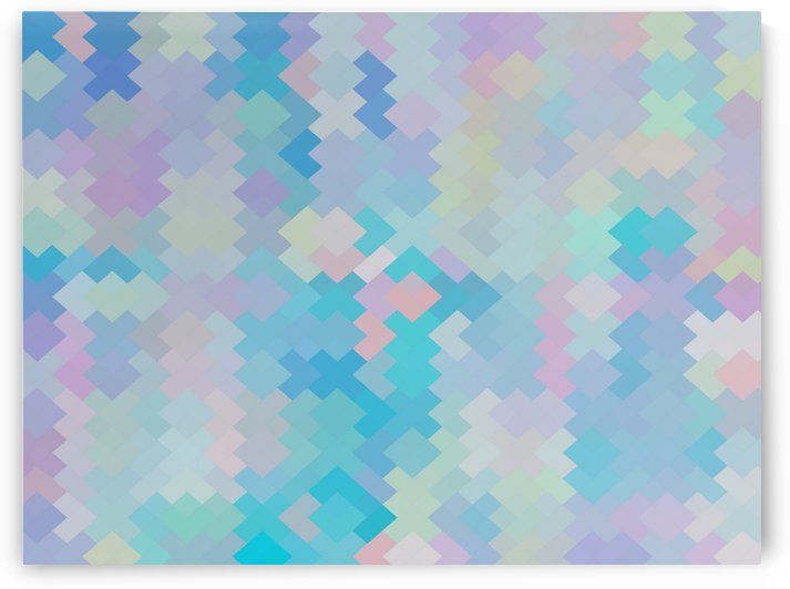 geometric square pixel pattern abstract in blue and pink by TimmyLA