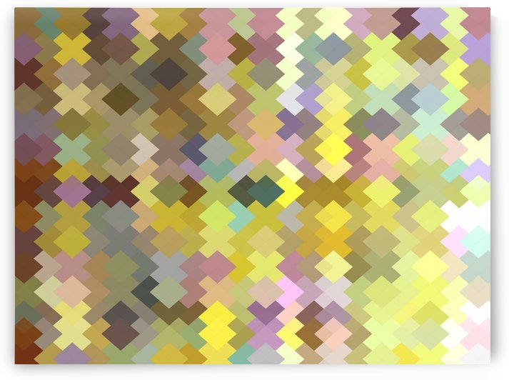 geometric square pixel pattern abstract in yellow and pink by TimmyLA