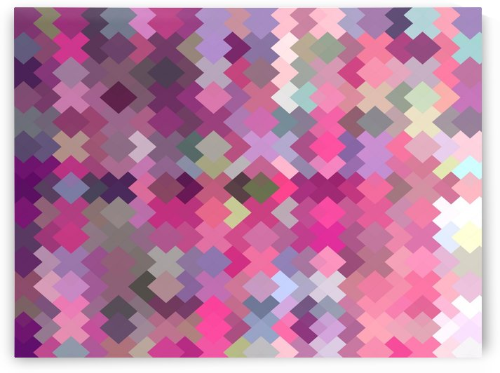 geometric square pixel pattern abstract in pink and purple by TimmyLA