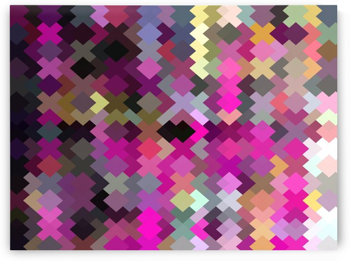 geometric square pixel pattern abstract in purple pink yellow by TimmyLA