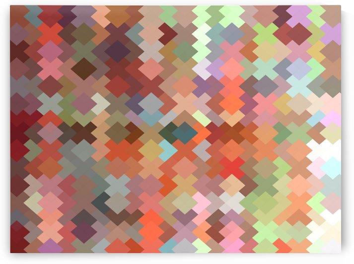 geometric square pixel pattern abstract in orange brown green by TimmyLA