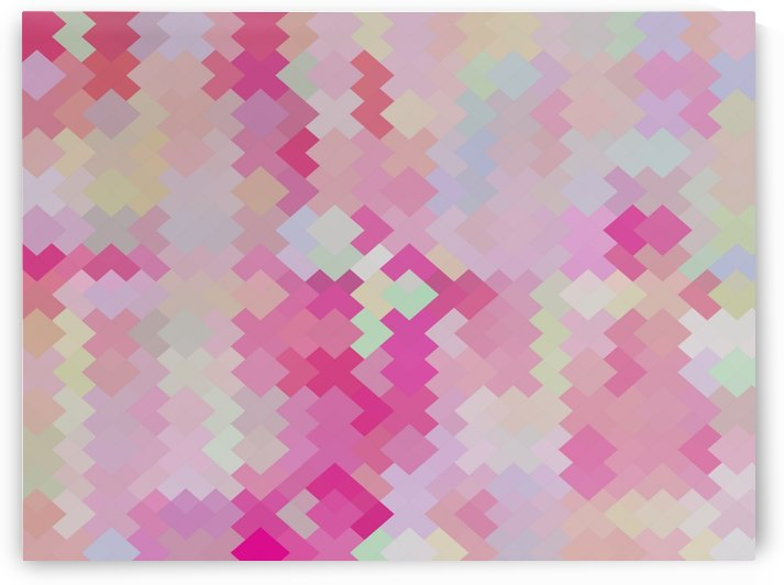 geometric square pixel pattern abstract in pink by TimmyLA