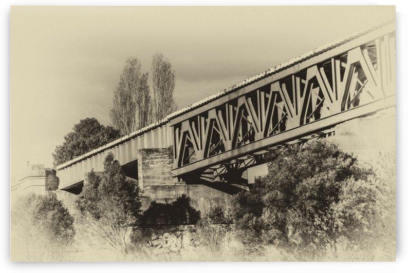 Railway Bridge in B&W by Ann Skrobot