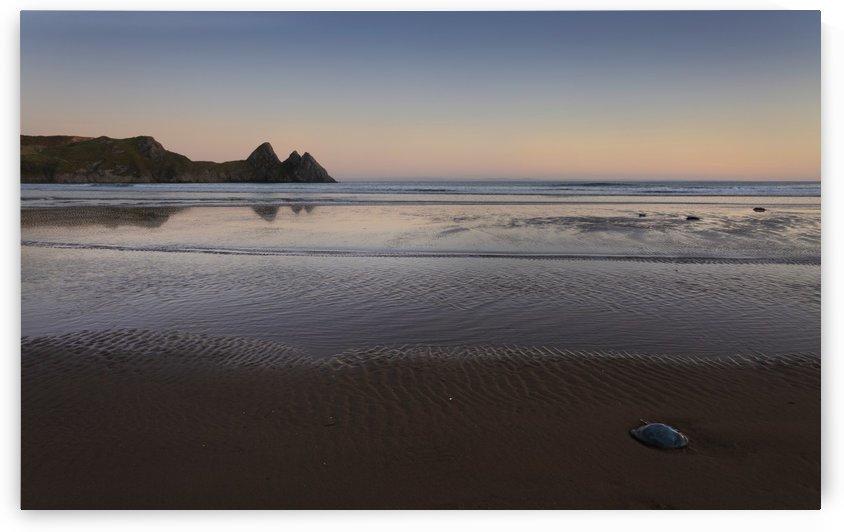 Evening at Three Cliffs Bay Gower by Leighton Collins