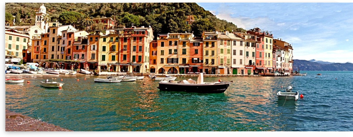 Portofino Harbor Panorama by Peter Horrocks
