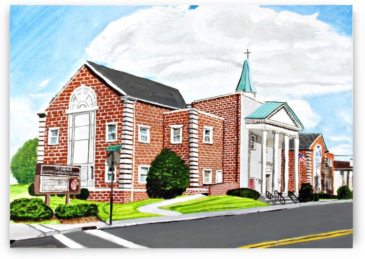 Water Color Of Local Methodist Church in 2014 by David B Martin II