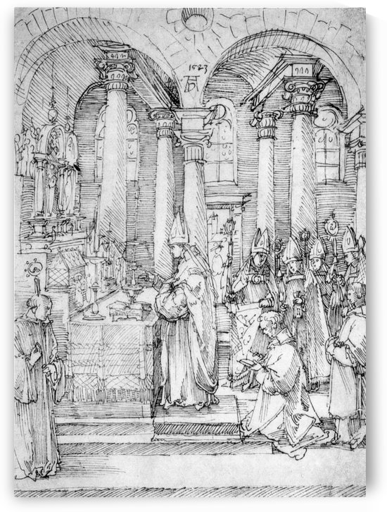 Mass of Cardinal Albrecht of Brandenburg in the Abbey Church Hall by Albrecht Durer