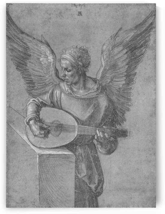 Winged Man In Idealistic Clothing, playing a Lute by Albrecht Durer