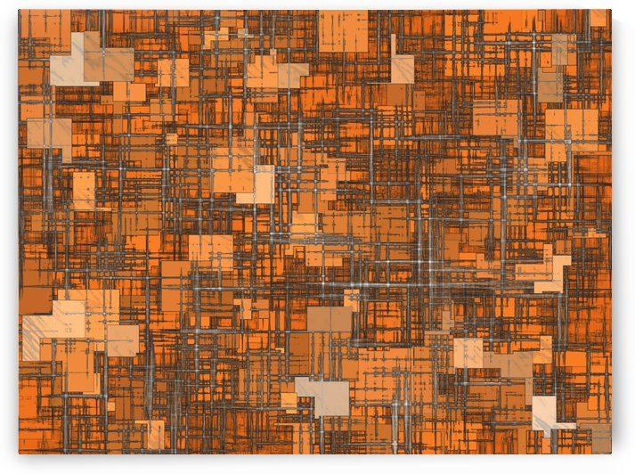 geometric square pattern abstract background in orange and brown by TimmyLA