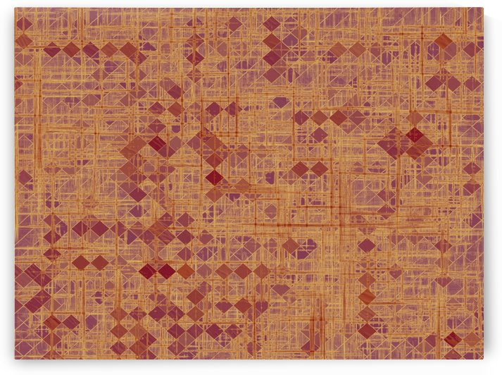 geometric square pixel pattern abstract in brown and pink by TimmyLA