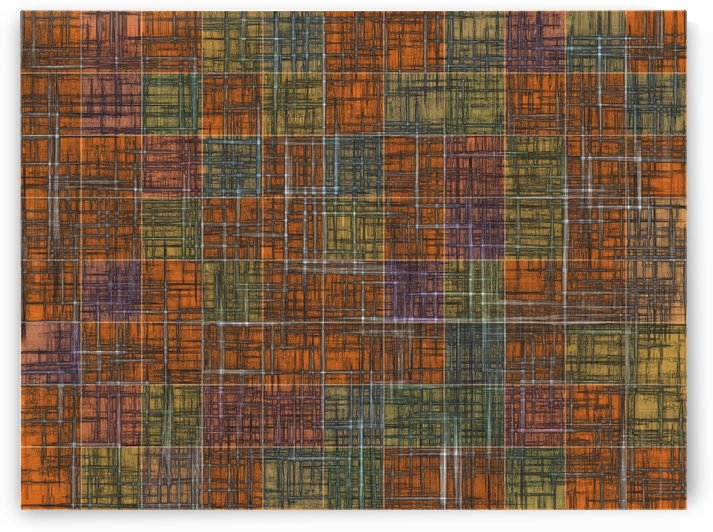 geometric square pattern abstract in orange brown green yellow by TimmyLA