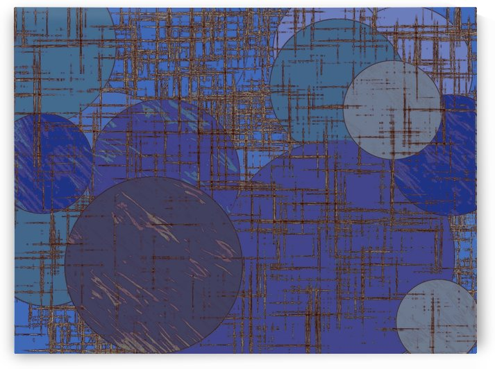 geometric circle and square pattern abstract in blue and purple by TimmyLA