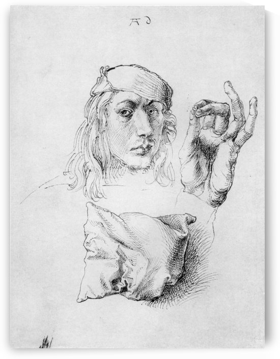 Study sheet with self-portrait, hand, and cushions by Albrecht Durer