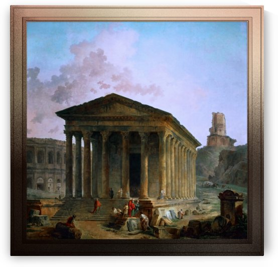 The Maison Carée the Arenas and the Magne Tower in Nimes by Hubert Robert by xzendor7