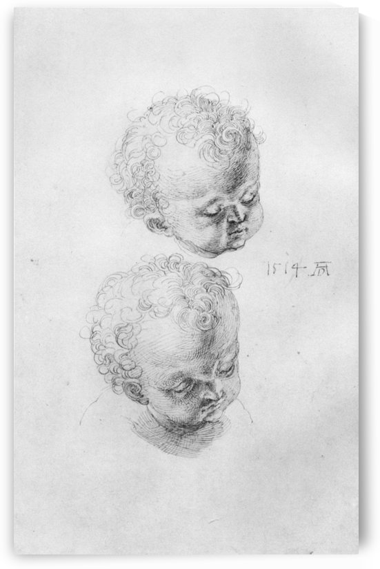 Study sheets with children heads by Albrecht Durer