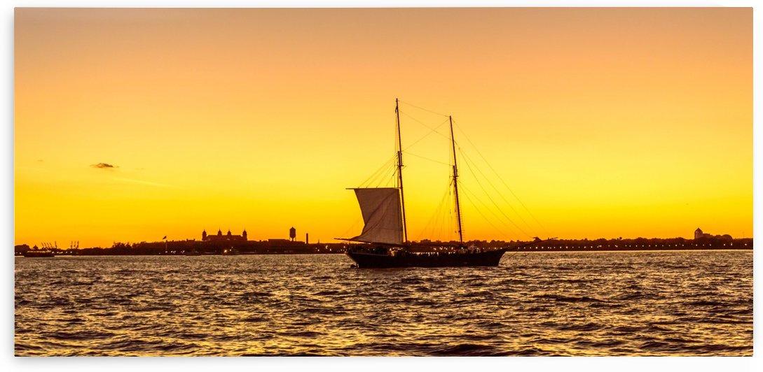 Sunset over the NY harbor by Aleksandr Vaysberg