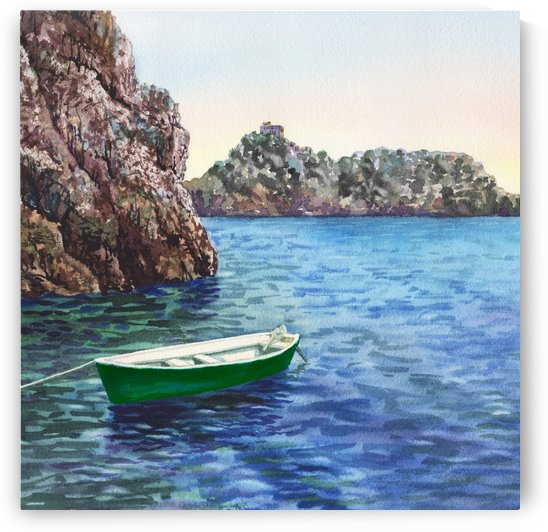 Green Boat Blue Sea Grotto Emeraldo Harbor  by Irina Sztukowski