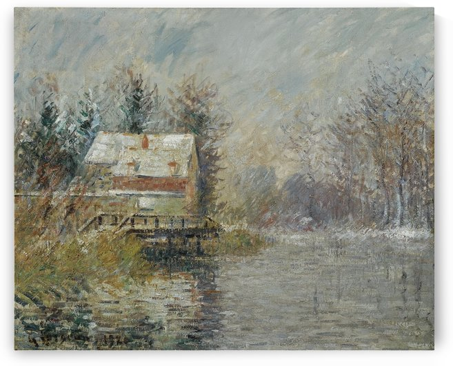 The House by the Water, Snow Effect by Gustave Loiseau