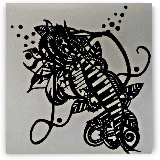 Cheval de mer dessin original de ma creation dessiné a la main sur toile  by Jodygraphe