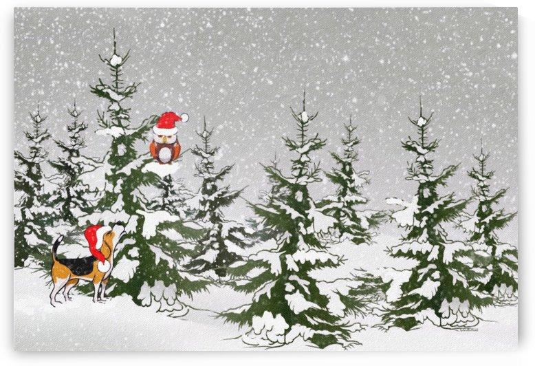 Dog and Owl in the winter wonderland  by Gabriella David