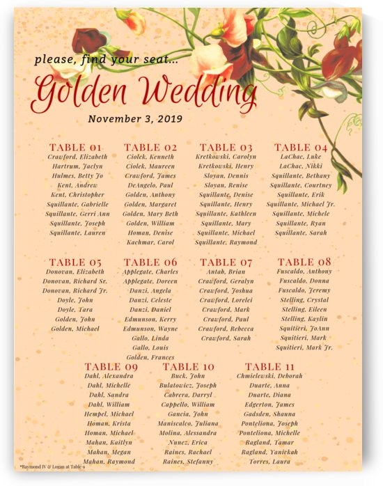 Maroon Floral Vintage Spring Formal Seating Chart by Andrea