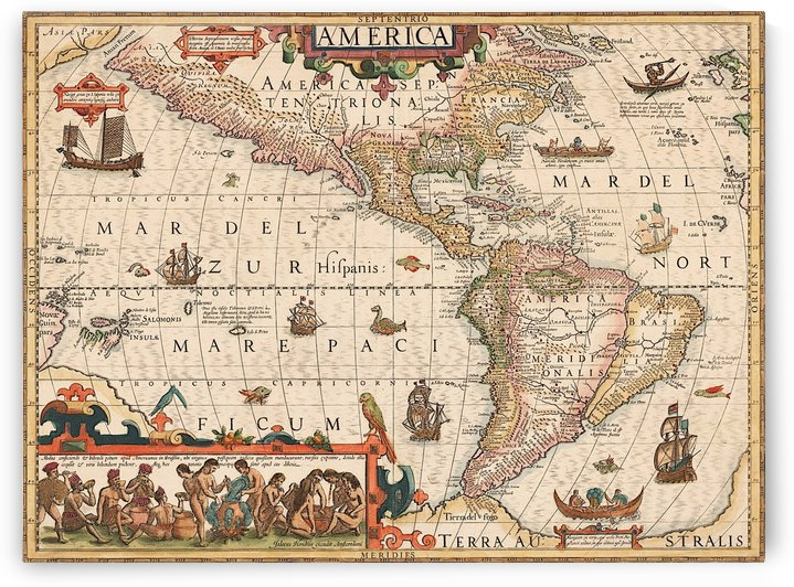 Hondius map of the Americas by AmilenaCollection