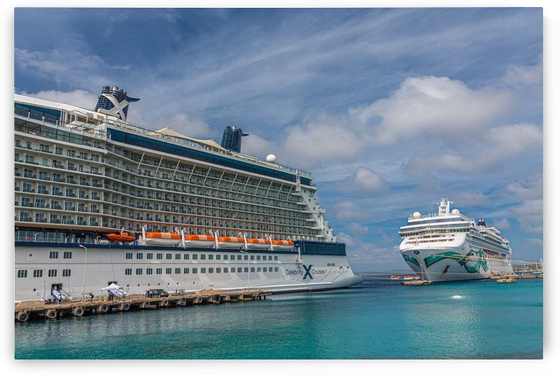 Two Cruise Ships in Bonaire by Darryl Brooks
